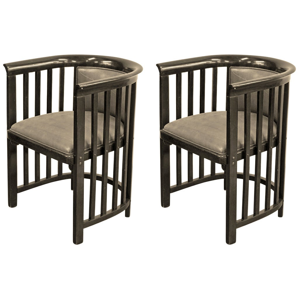 Pair of Rare Armchairs by Josef Hoffmann