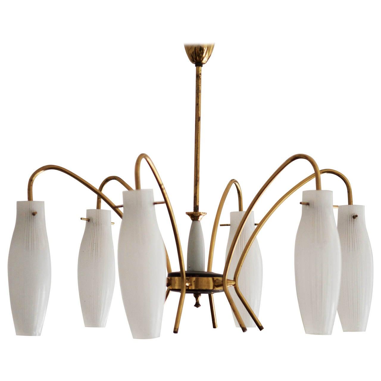 Mid Century Brass Chandelier Stilnovo Style