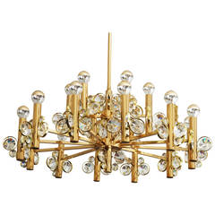 Large Impressive Cut Crystal Chandelier Attributed to Gaetano Sciolari