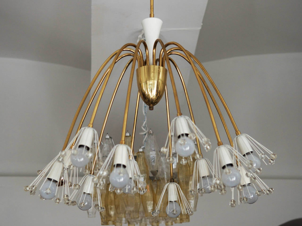 Large Brass Chandelier By Emil Stejnar For Rupert Nikoll For Sale 2
