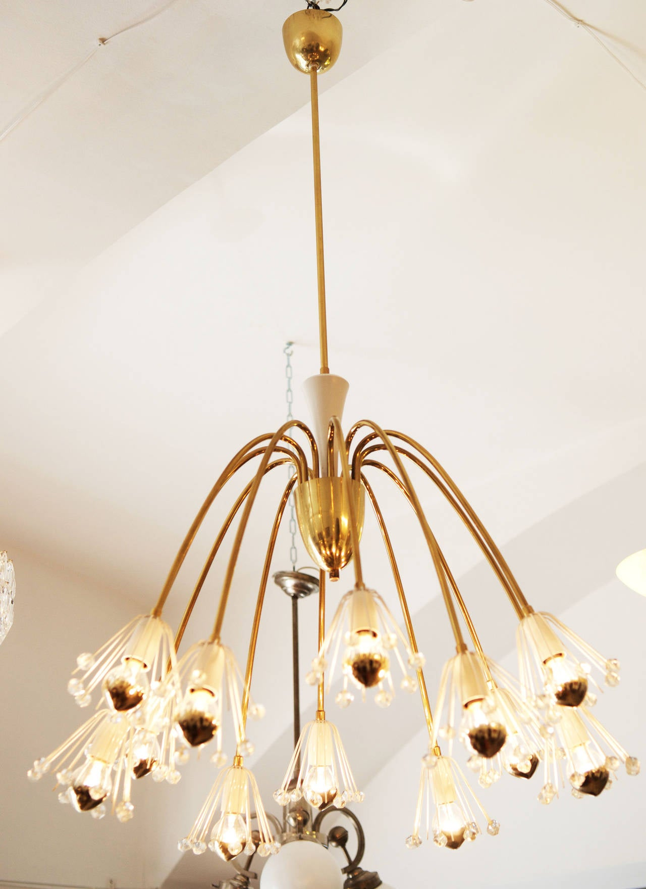 Mid-20th Century Large Brass Chandelier By Emil Stejnar For Rupert Nikoll For Sale