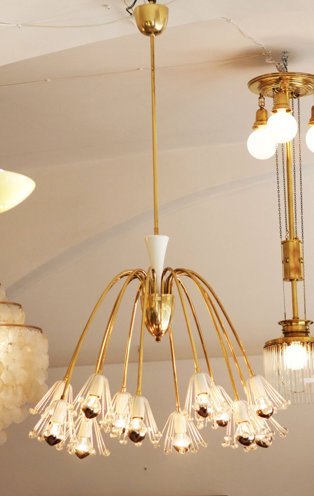 Mid-Century Modern Large Brass Chandelier By Emil Stejnar For Rupert Nikoll For Sale