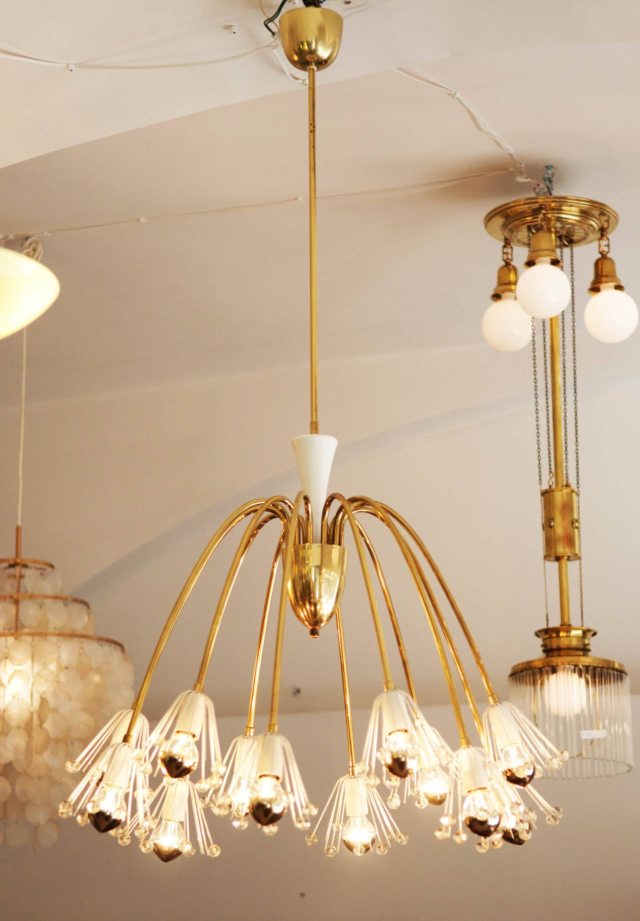 Austrian Large Brass Chandelier By Emil Stejnar For Rupert Nikoll For Sale