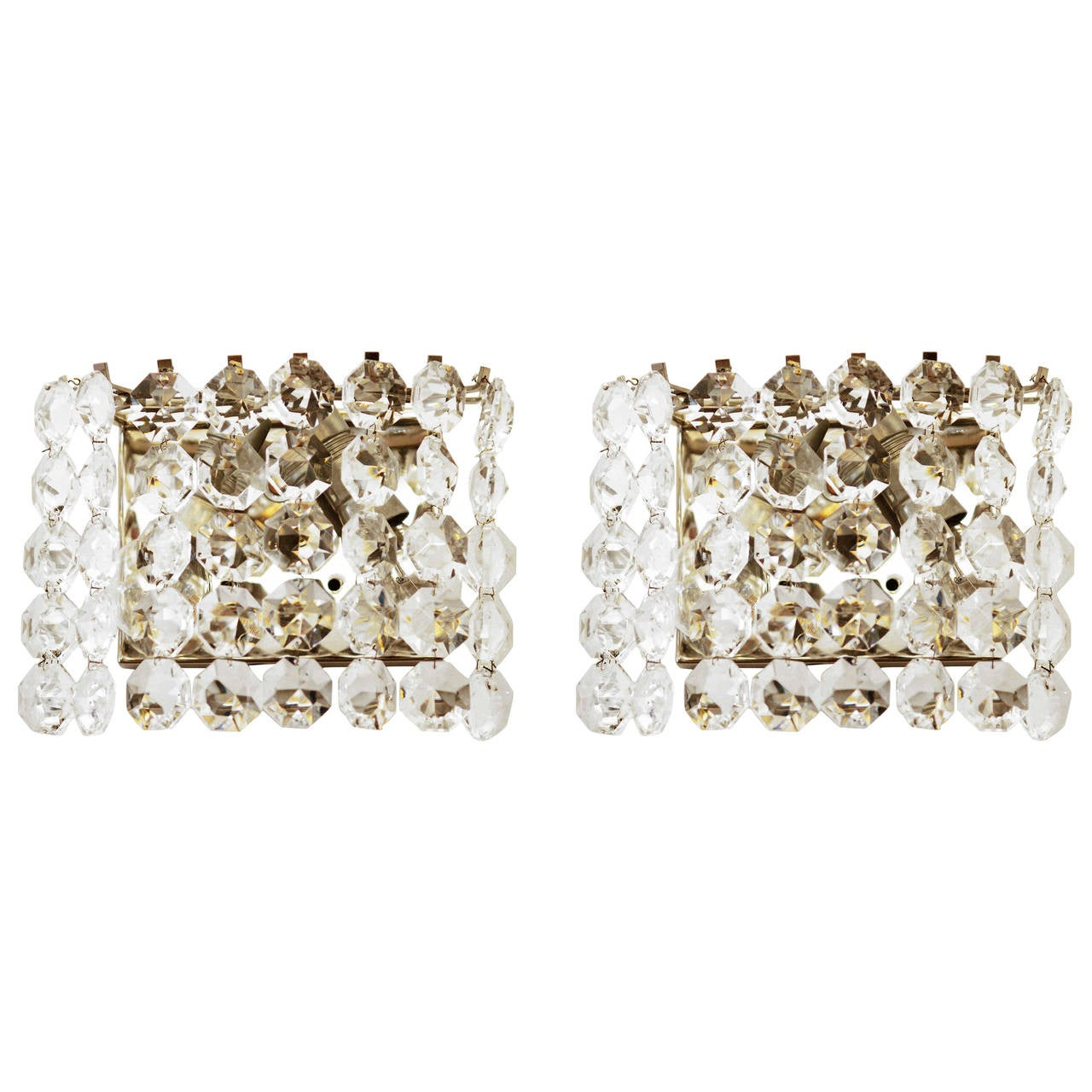 Pair of Austrian Crystal Sconces by Bakalowits and Sohne