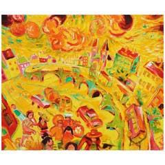 "Wolfgang Glechner Oil on Canvas ""Lerchenfeldergürtel"""