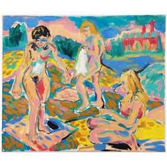 "Wolfgang Glechner Oil on Canvas ""Women Bathing at the Gravel Pond"""