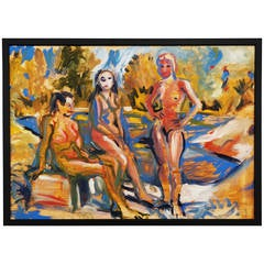 """Wolfgang Glechner Oil on Canvas """"Three Women At The Lake"""""""