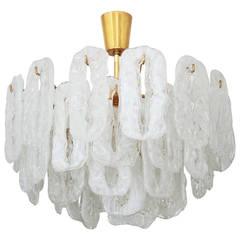 Ice Glass Chandelier Attributed to Kalmar