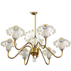 Brass Fountain Chandelier by Emil Stejnar for Rupert Nikoll