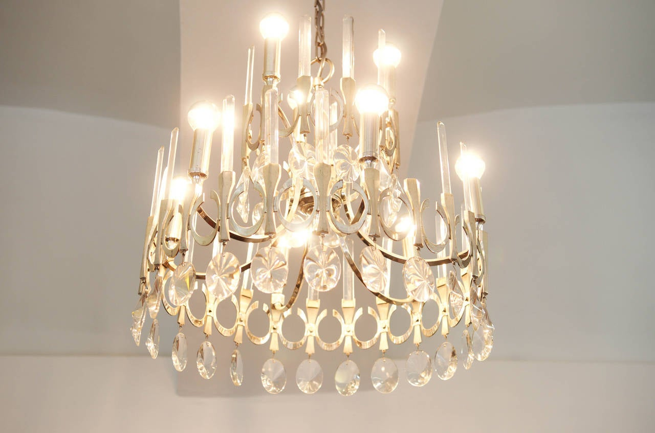 Mid-20th Century Chandelier by Gaetano Sciolari from 1960s For Sale