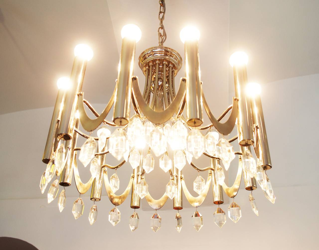 Large Chandelier Attributed to Gaetano Sciolari from 1960s For Sale 1