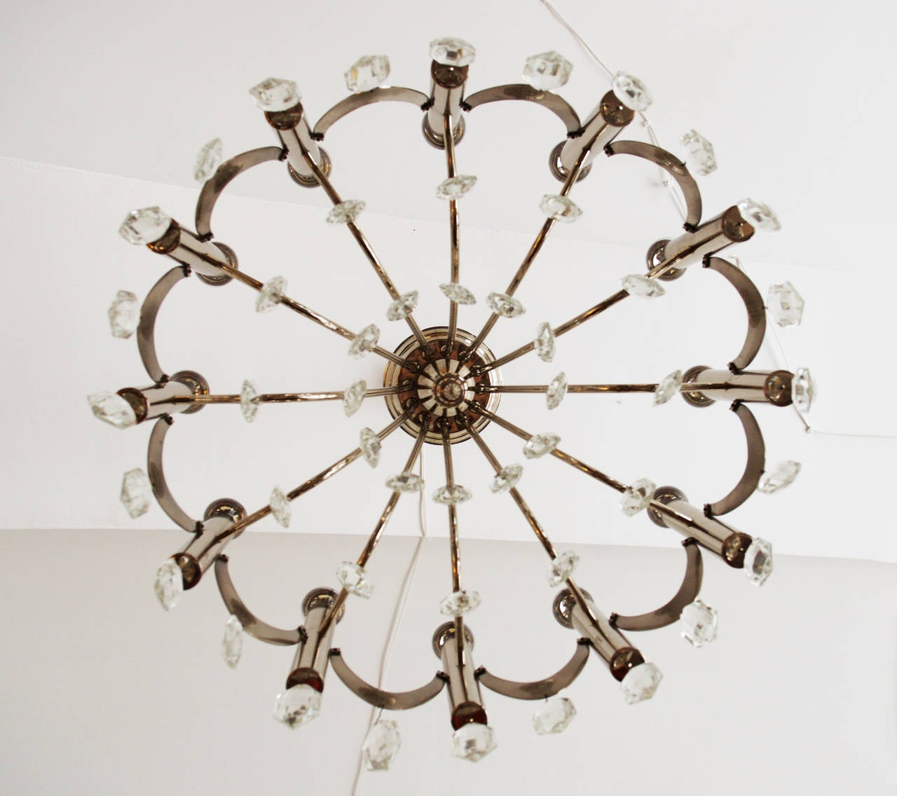 Brass Large Chandelier Attributed to Gaetano Sciolari from 1960s For Sale