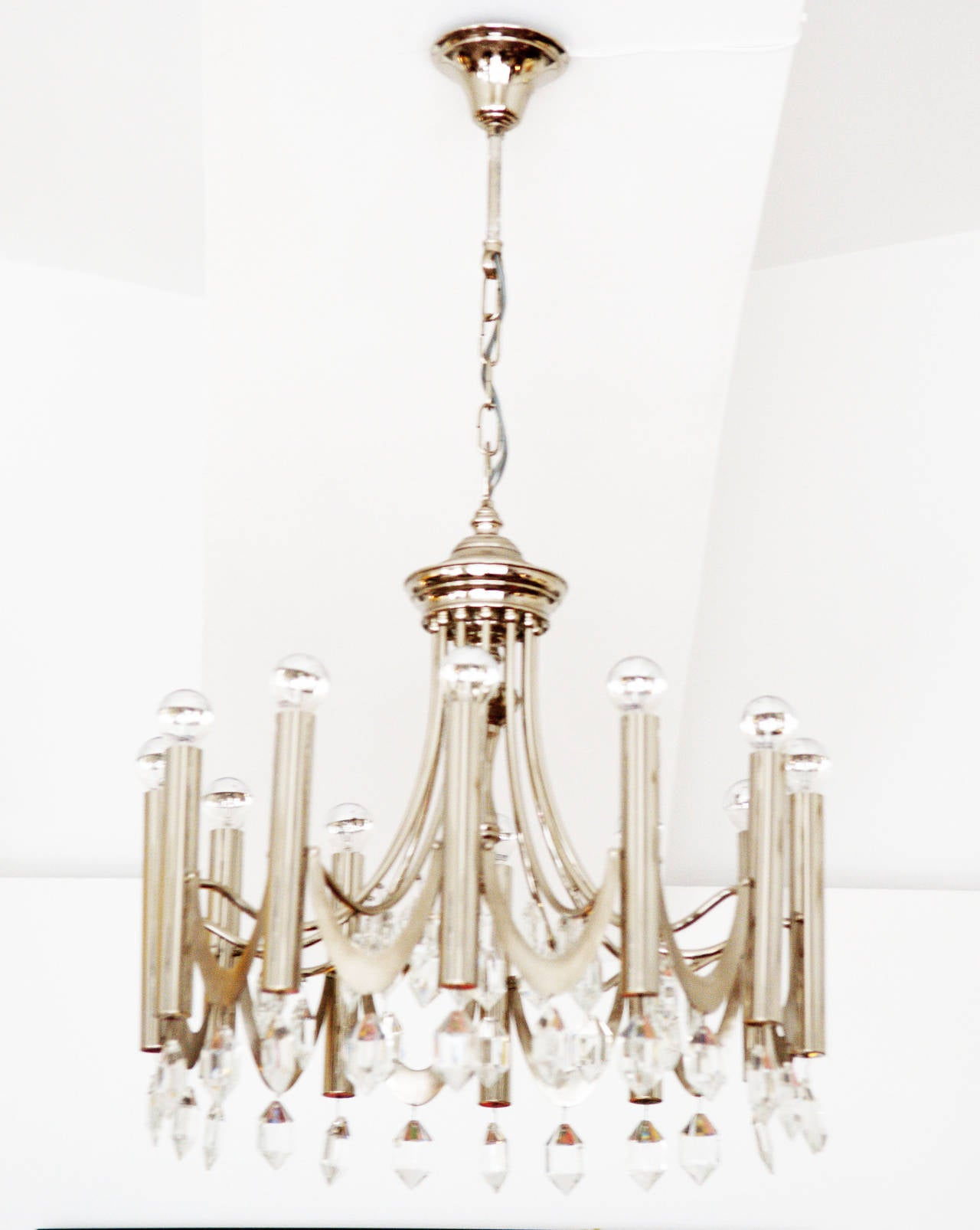 Austrian Large Chandelier Attributed to Gaetano Sciolari from 1960s For Sale