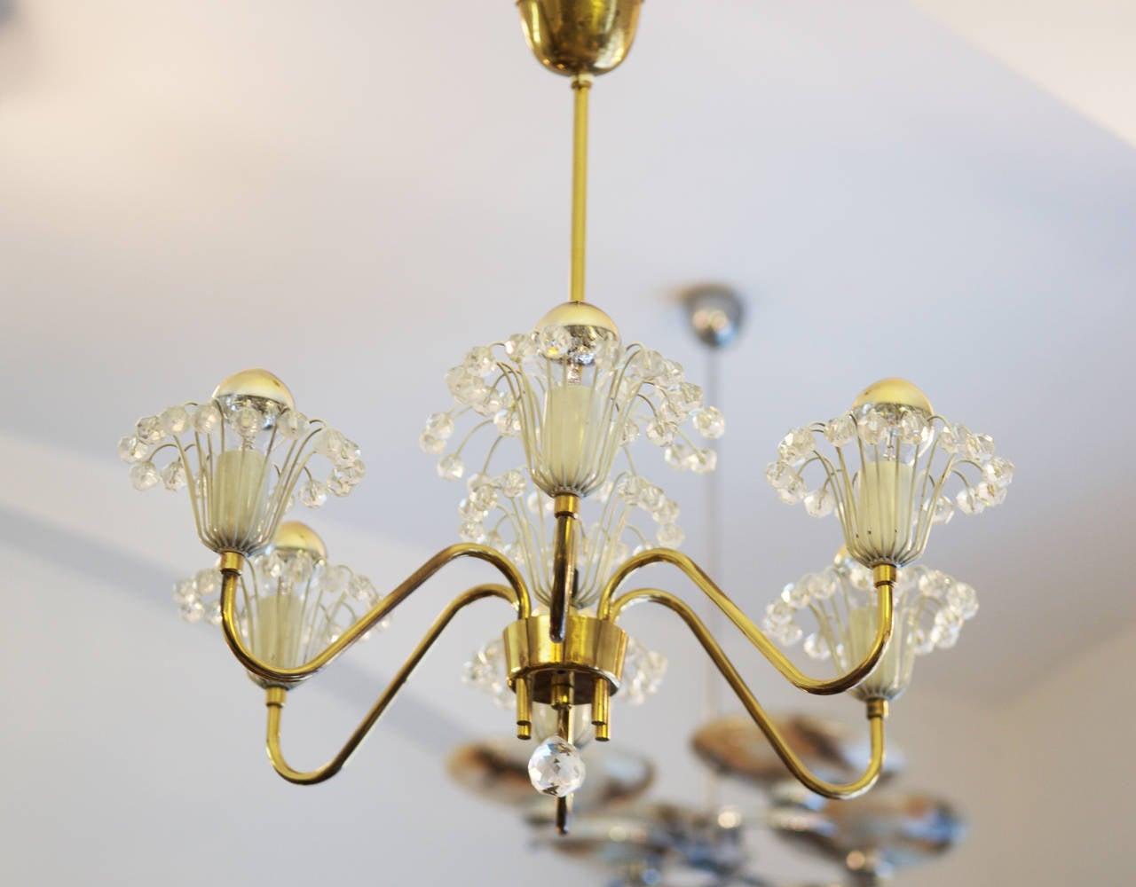 Mid-Century Modern Brass Fountain Chandelier by Emil Stejnar for Rupert Nikoll For Sale