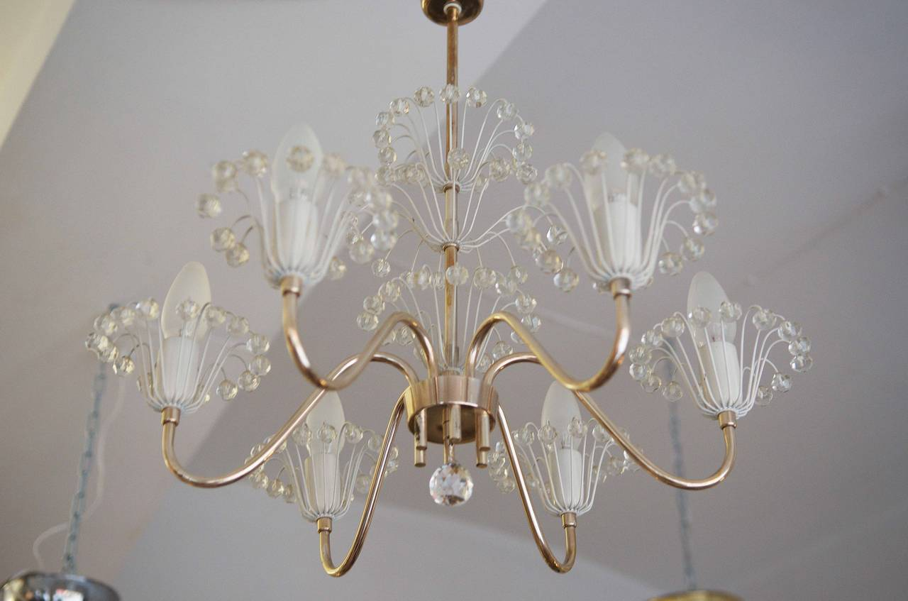 Mid-Century fountain chandelier by Emil Stejnar for Rupert Nikoll. Brass silver plated with glass elements.