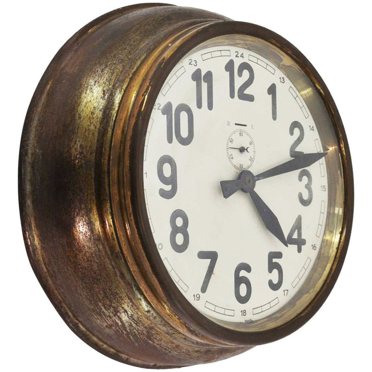 Brass Art Deco Wall Clock For Sale
