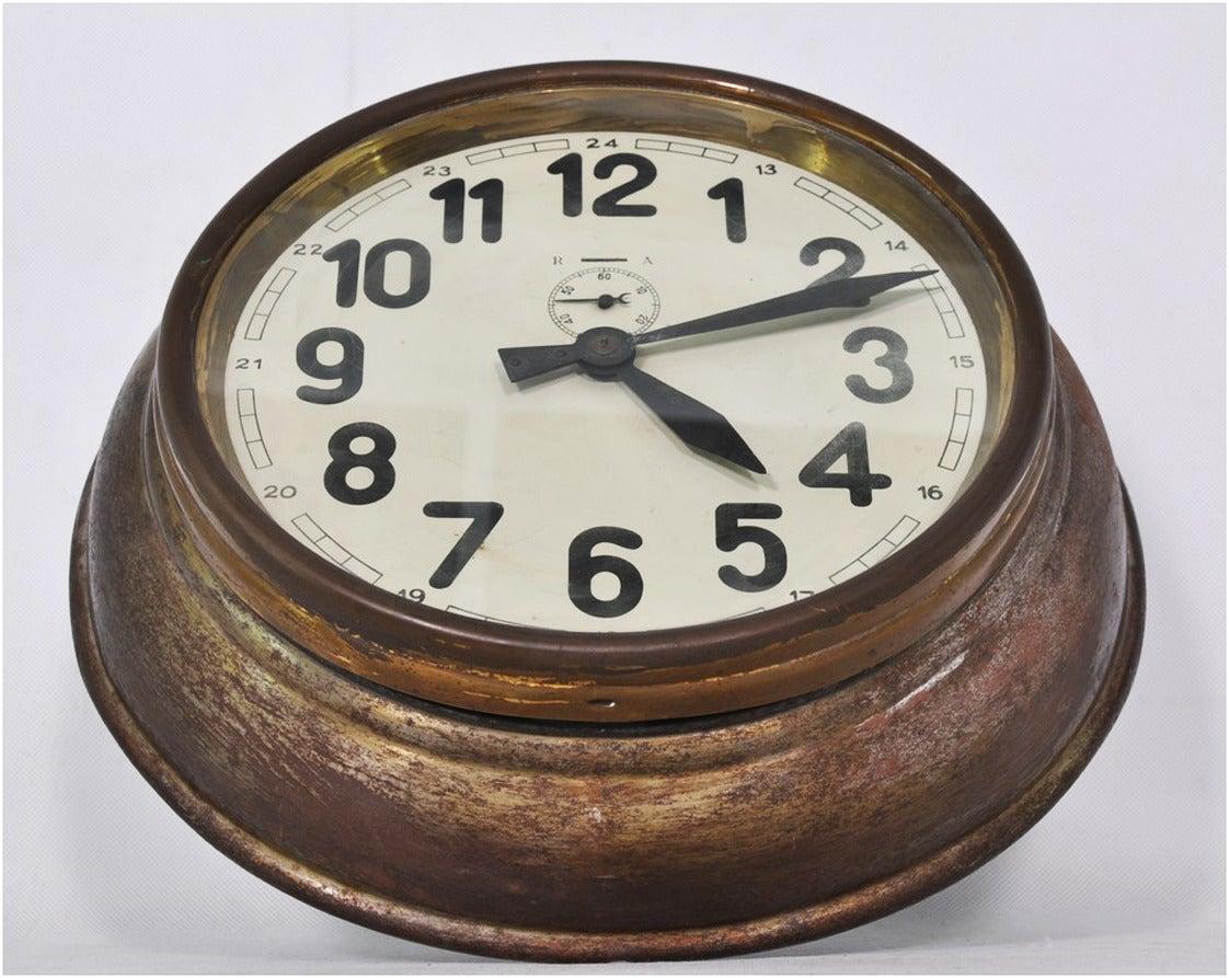 Brass Art Deco Wall Clock 2