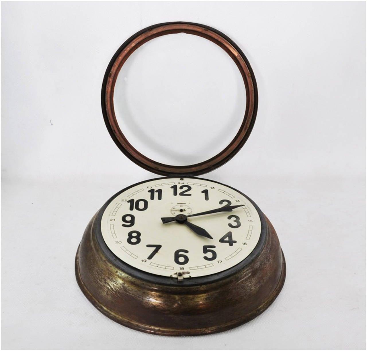 Brass Art Deco Wall Clock 3