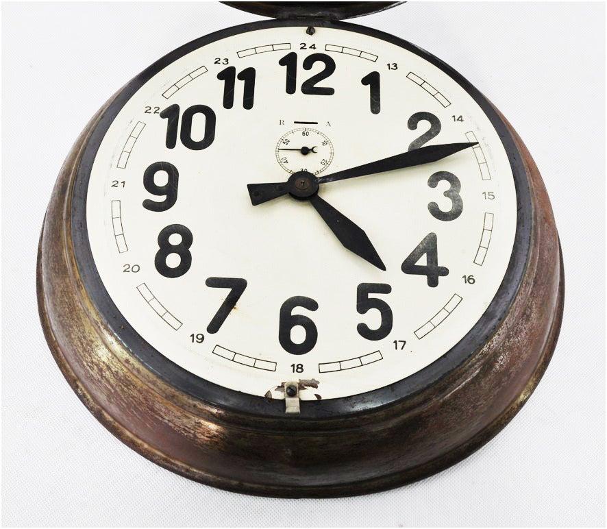 French Brass Art Deco Wall Clock