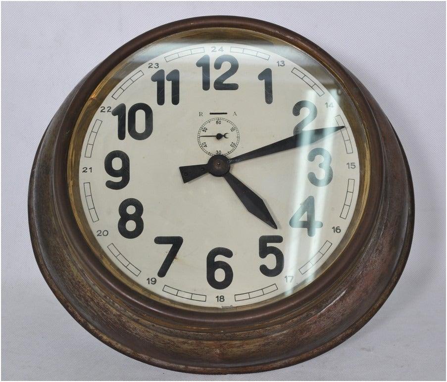 Brass Art Deco Wall Clock 1
