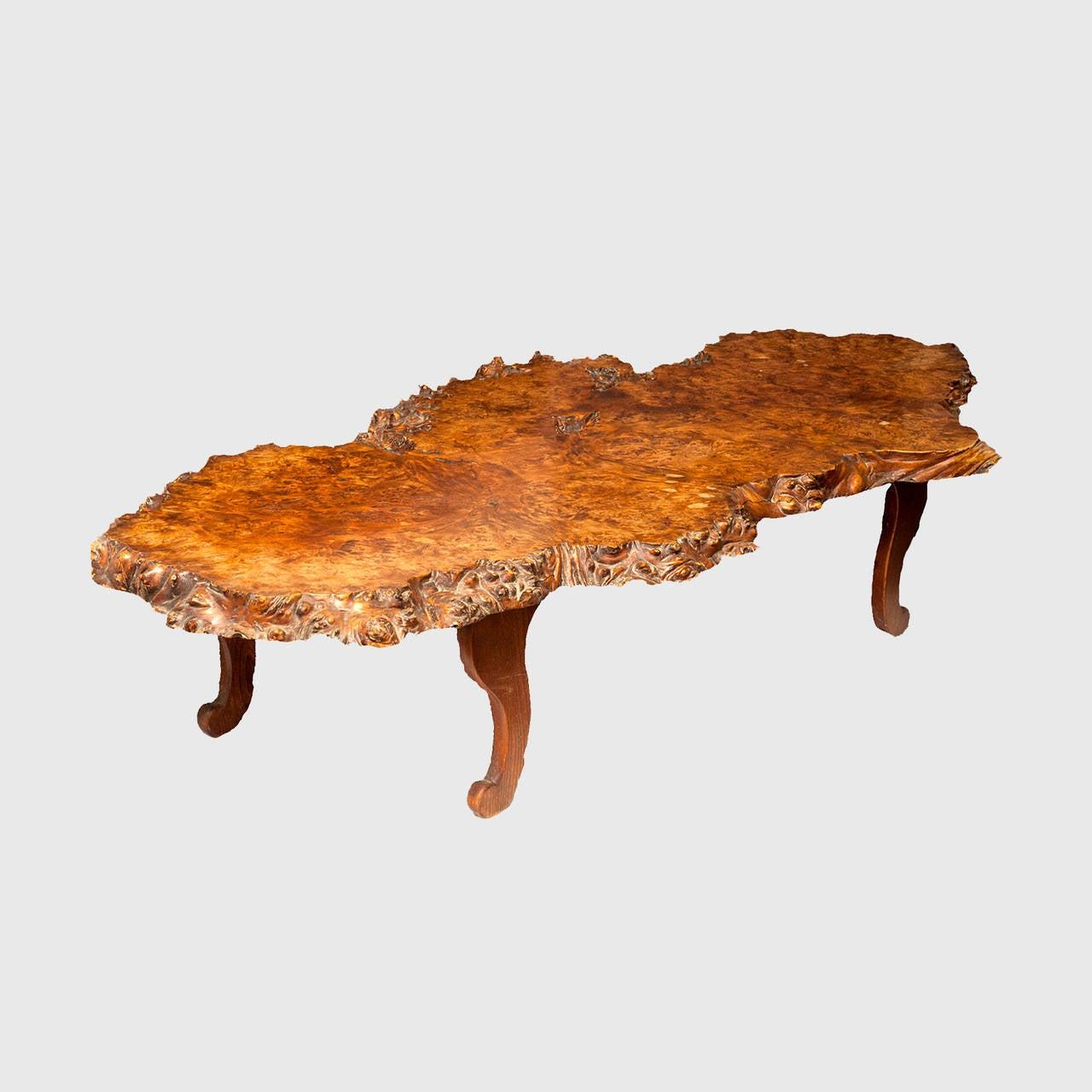 Vintage Burl Wood Slab Coffee Table At 1stdibs: Antique Solid Burl Redwood Coffee Table At 1stdibs