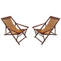Pair of Vintage Chinese Bamboo and Lacquer Slat-Back Reclining Lounge Chairs