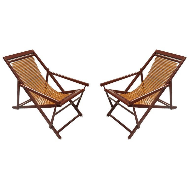 Remarkable Pair Of Vintage Chinese Bamboo And Lacquer Slat Back Reclining Lounge Chairs Inzonedesignstudio Interior Chair Design Inzonedesignstudiocom