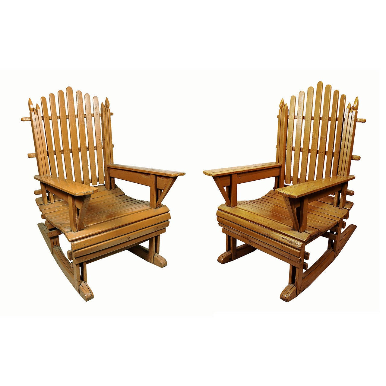 this pair of vintage painted wood adirondack rocking chairs is no