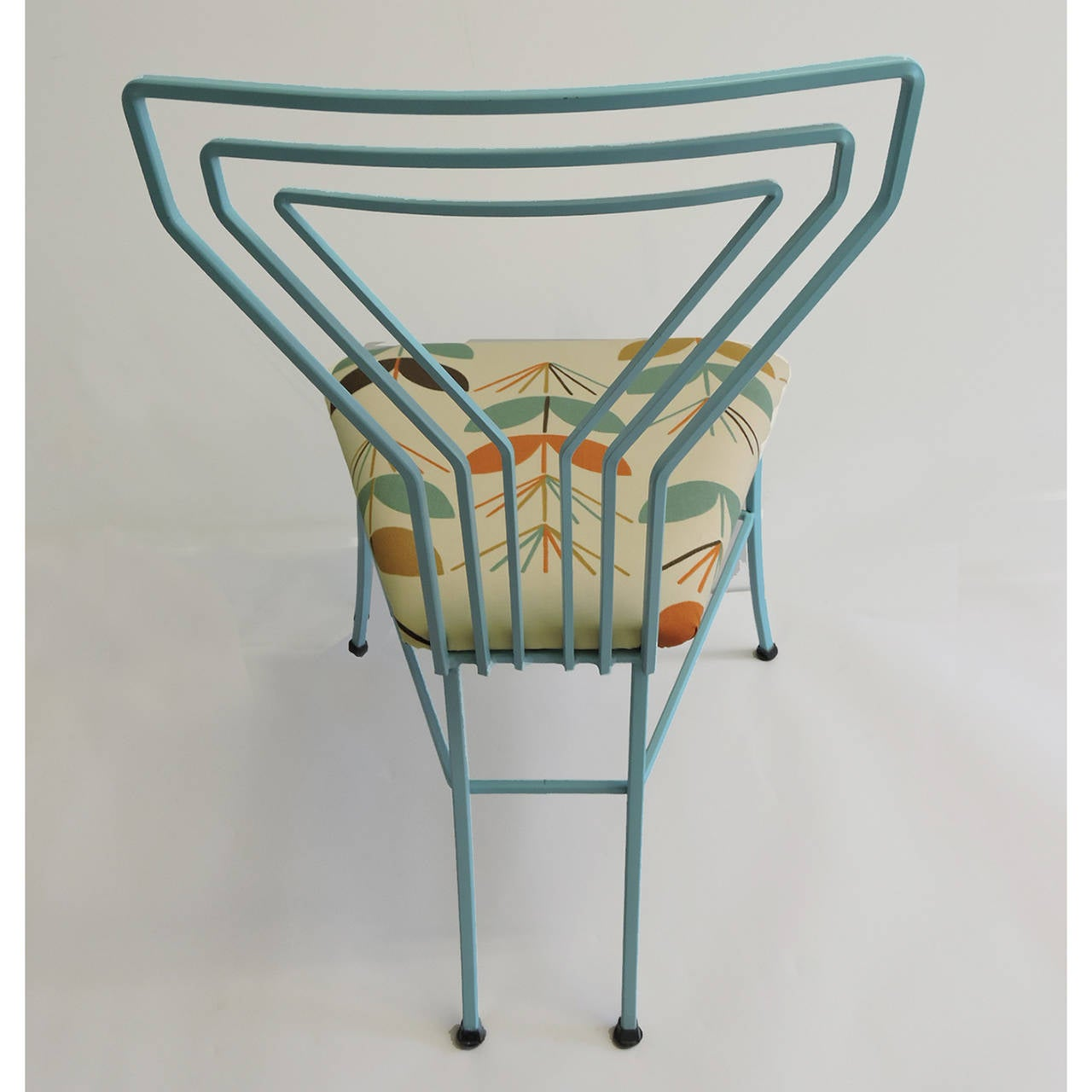 id f wrought iron kitchen chairs Pair of Modern Upholstered Seat Martini Glass Wrought Iron Kitchen Chairs 3