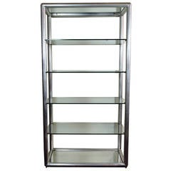 Mid-Century Modern Aluminum and Glass Five-Tier Etagere