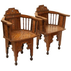 Pair of Antique Middle Eastern Inlaid Ebony and Rosewood Armchairs