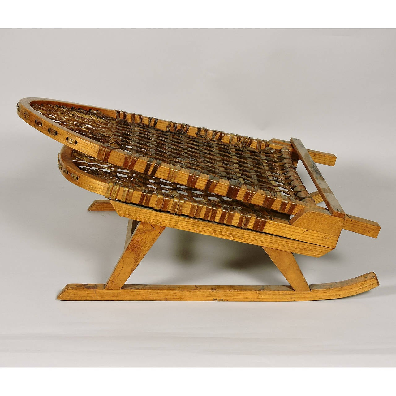 Pair Of Vintage Tubbs Portable Snowshoe Canoe Chairs At