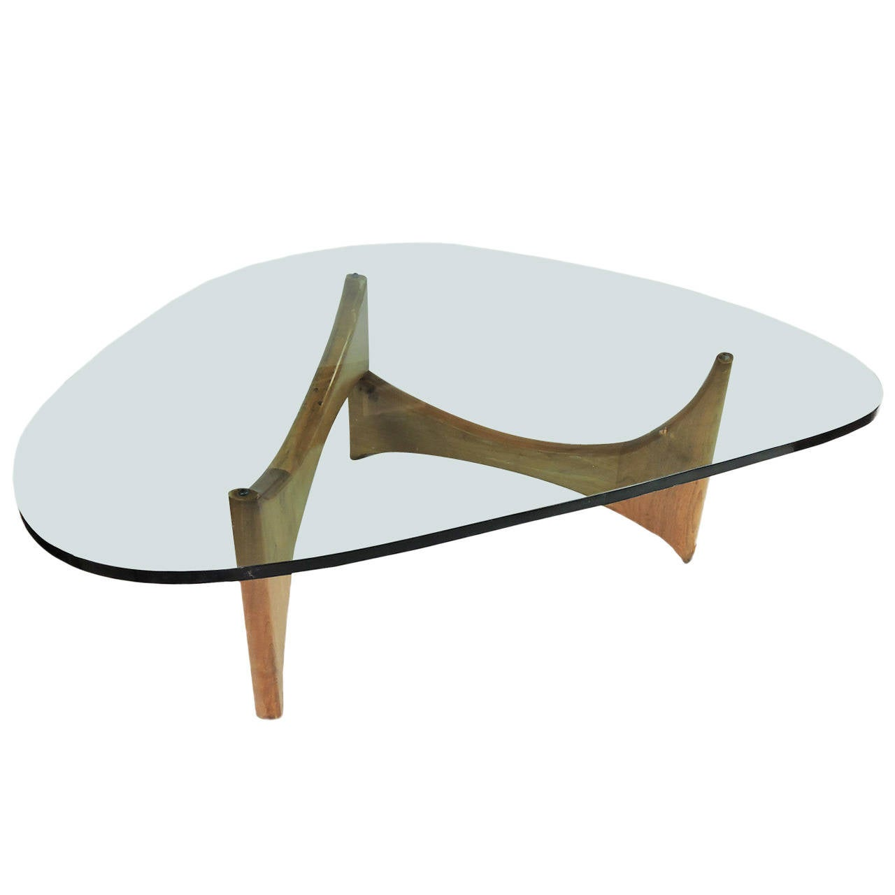 Mid Century Modern Glass and Wood Coffee Table For Sale at 1stdibs