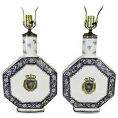 19th Century Chinese Export Style Porcelain Château De Versailles Lamps
