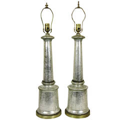 Pair of Silver Crackle Glass Column Form Table Lamps