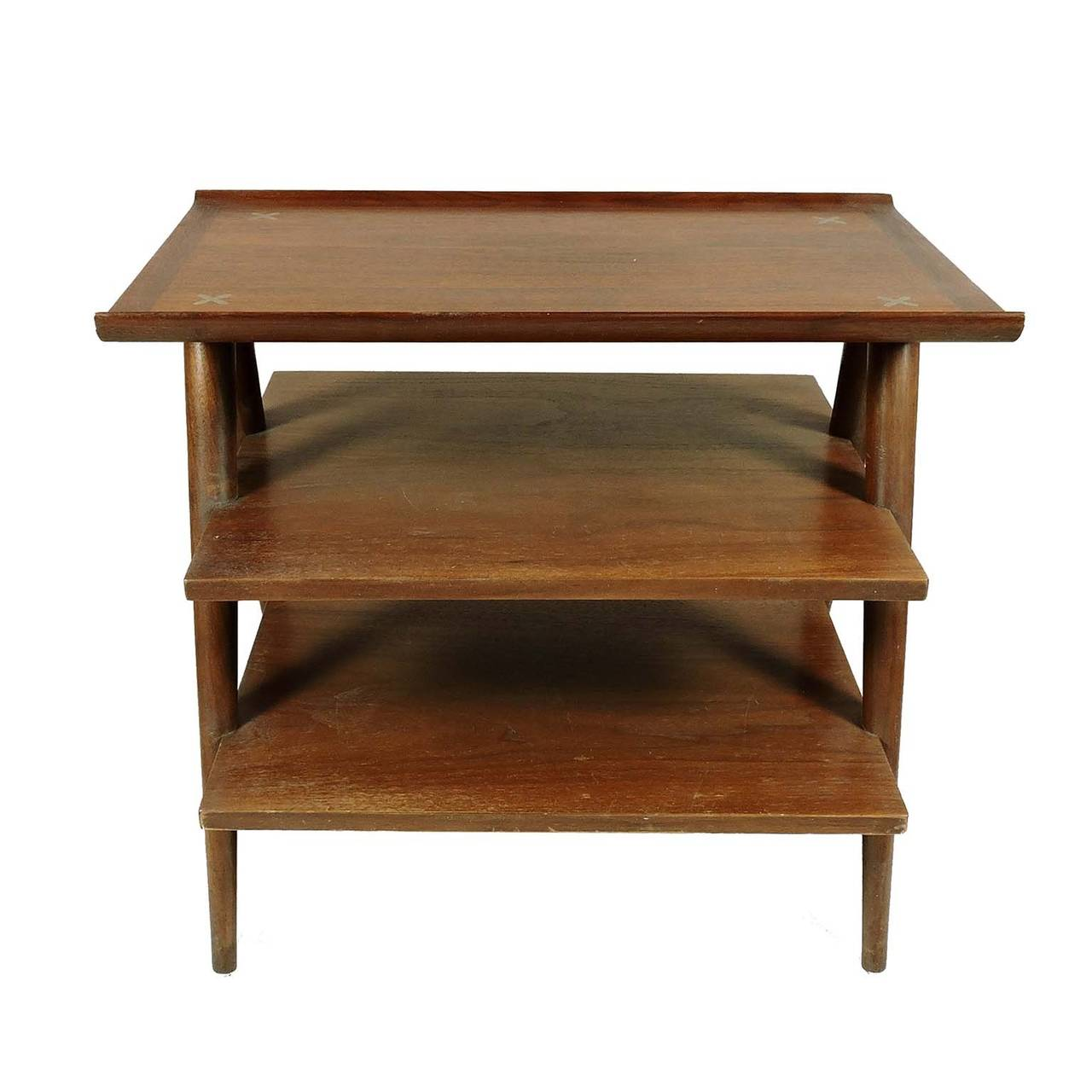 Mid Century Modern American Of Martinsville Walnut Table Three Tiers With Star Inlaid