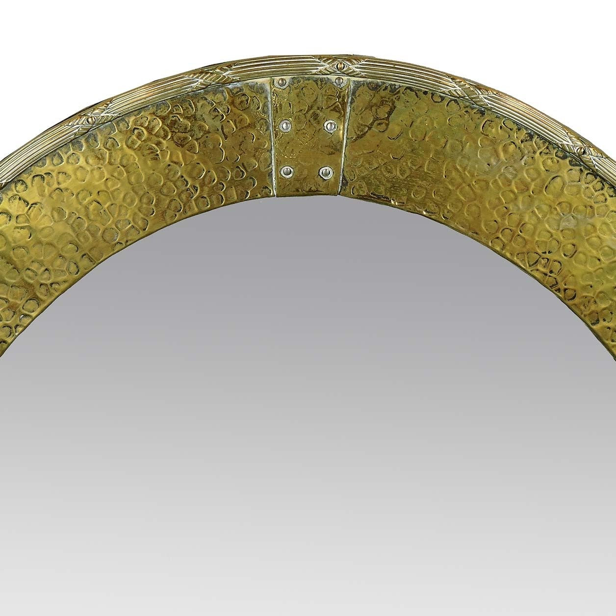 Arts and crafts mirrors - English Arts Crafts Hammered Brass Oval Mirror 2