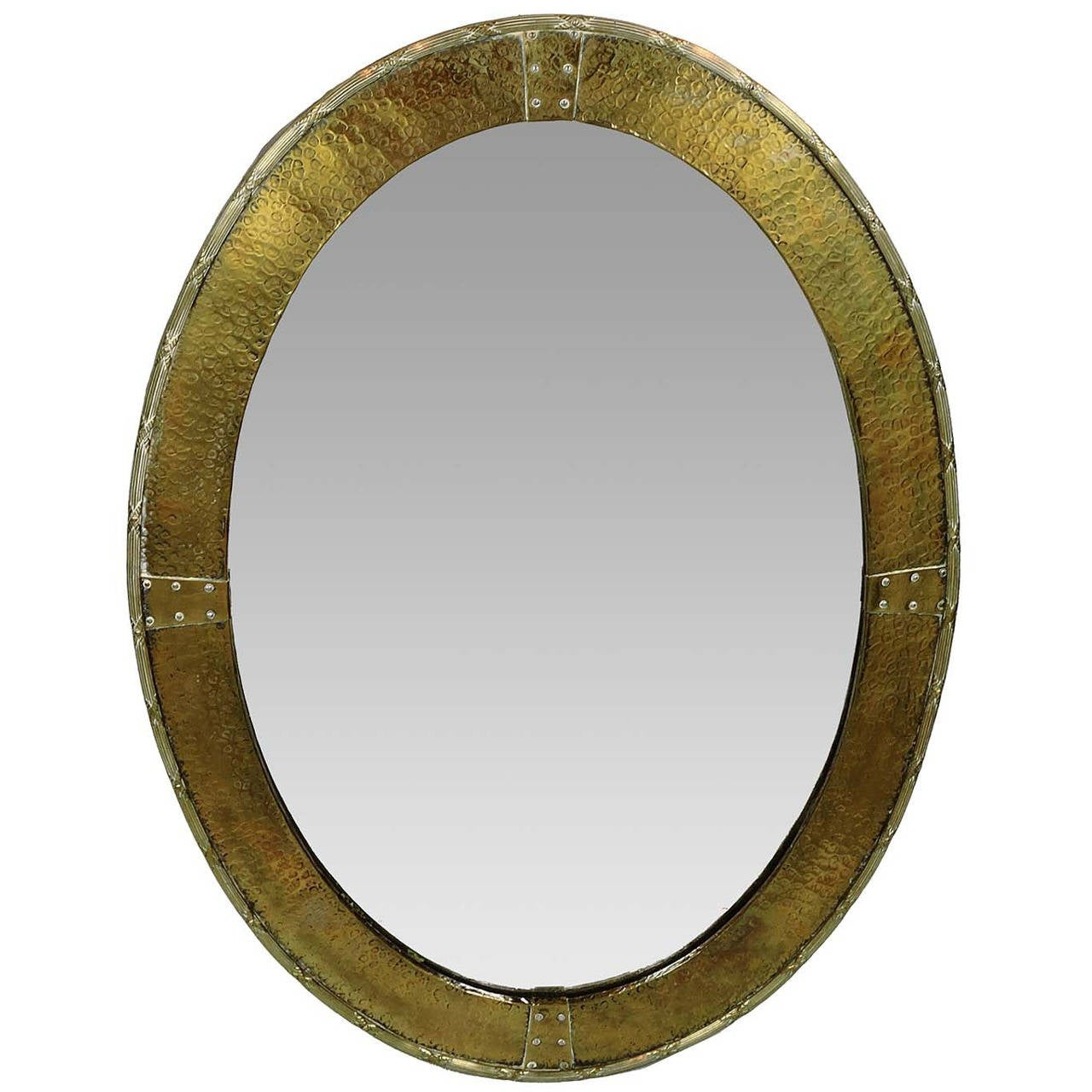 Arts and crafts mirrors - English Arts Crafts Hammered Brass Oval Mirror 1