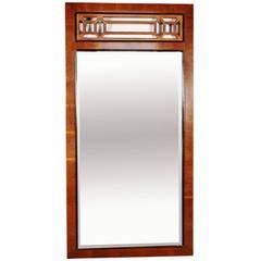 Midcentury Lattice Top Rectangular Wall Mirror