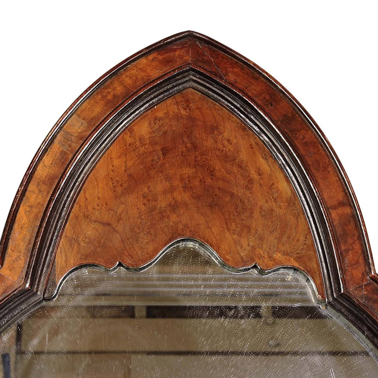 Arched gilt mirror at 1stdibs - Gothic Revival Burl Wood Arched Wall Mirror 2