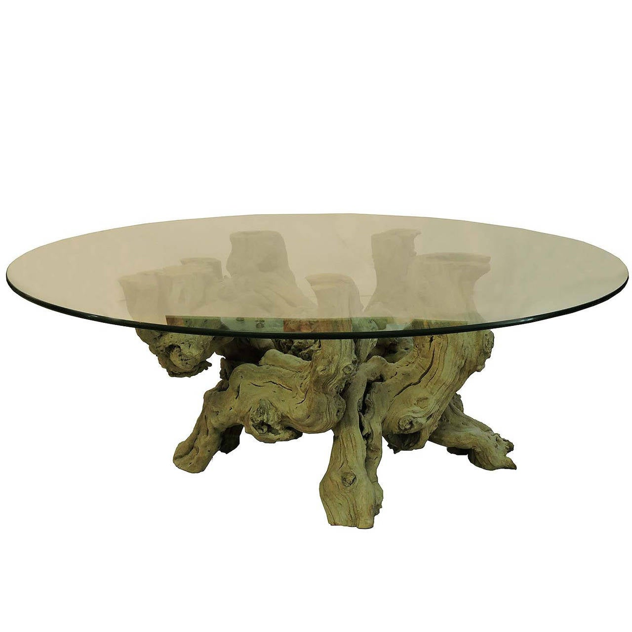 great driftwood and glass top coffee table at 1stdibs. Black Bedroom Furniture Sets. Home Design Ideas