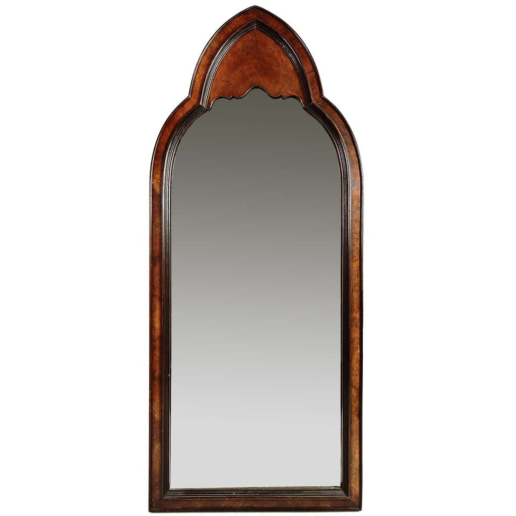 Arched gilt mirror at 1stdibs - Gothic Revival Burl Wood Arched Wall Mirror 1