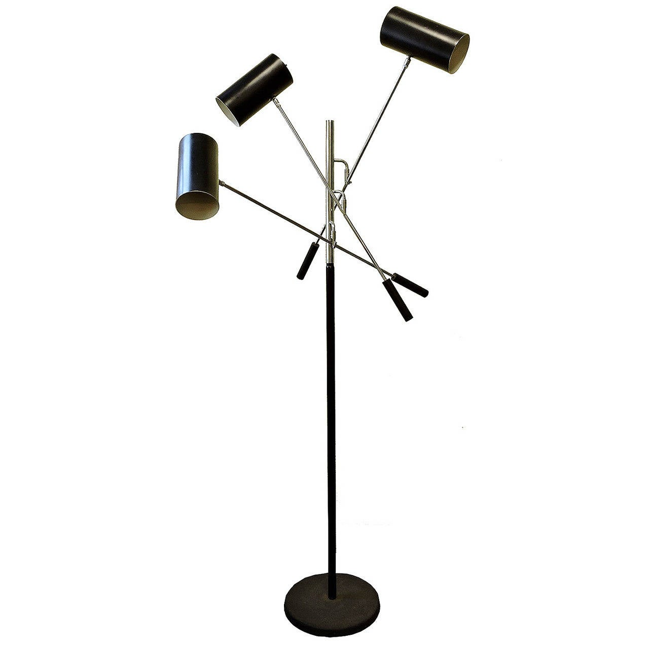 Italian Mid-Century Modern Chrome and Patinated Metal Adjustable Floor Lamp