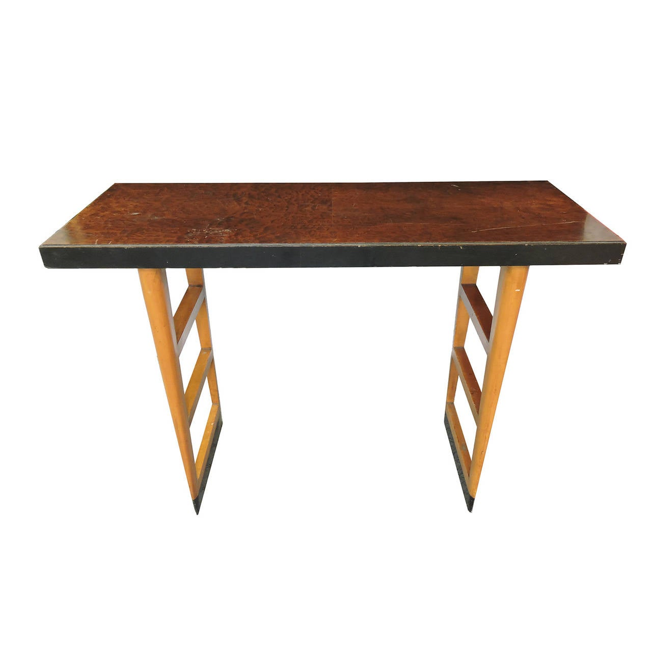Mid century modern burl wood console table at stdibs