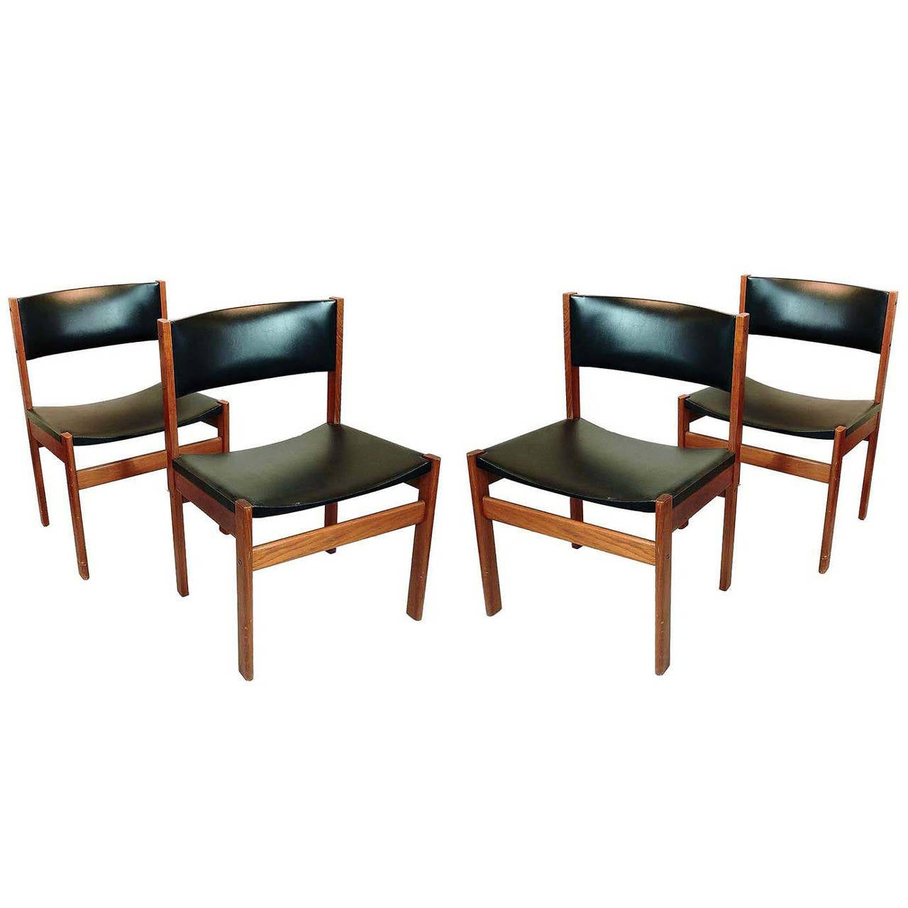 Set Of Four Danish Mid Century Modern Teak And Leather Dining Chairs For Sale At 1stdibs