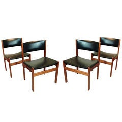 Set of Four Danish Mid-Century Modern Teak and Leather Dining Chairs