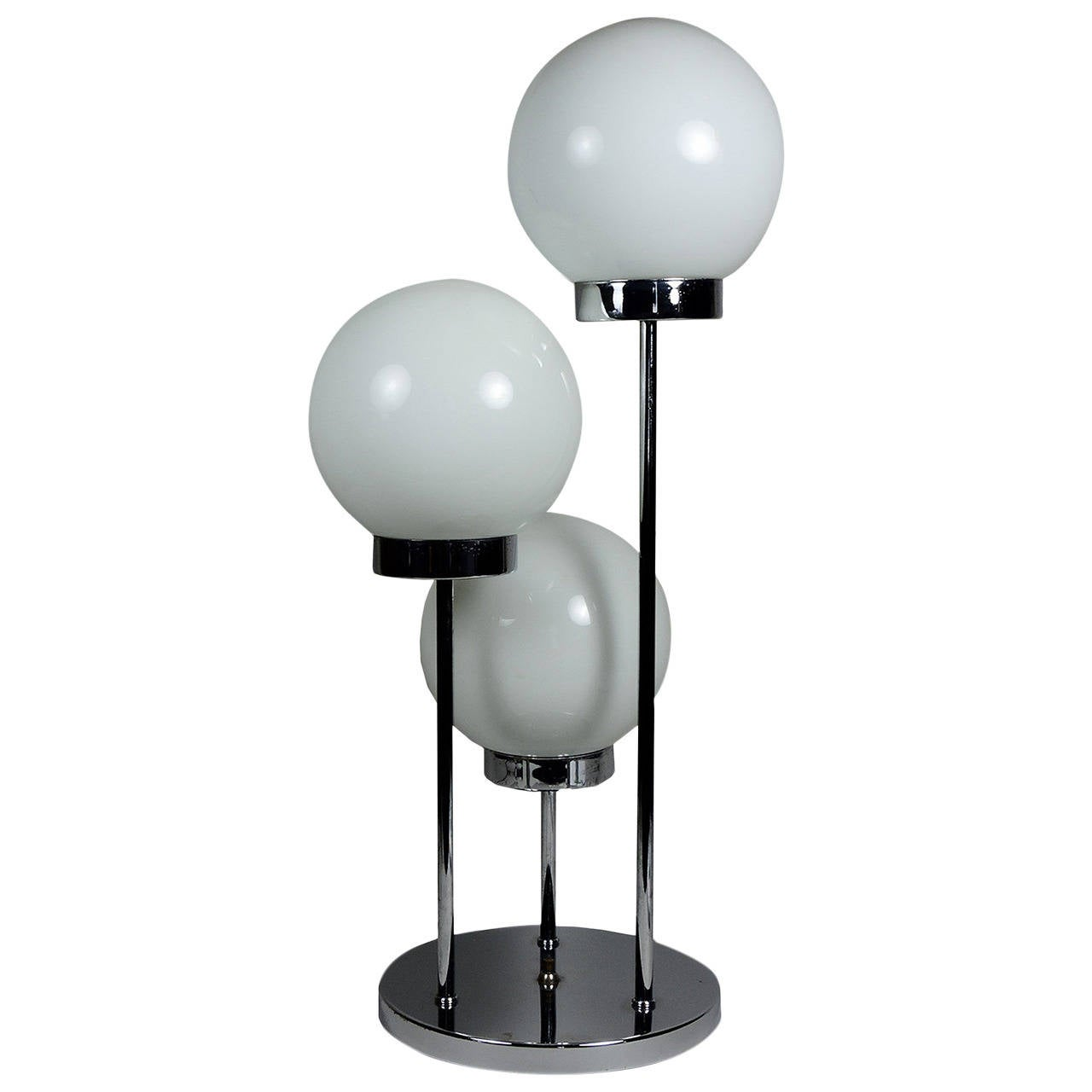 Mid century modern brass table lamps - Mid Century Modern Italian Three Globe Table Lamp 1