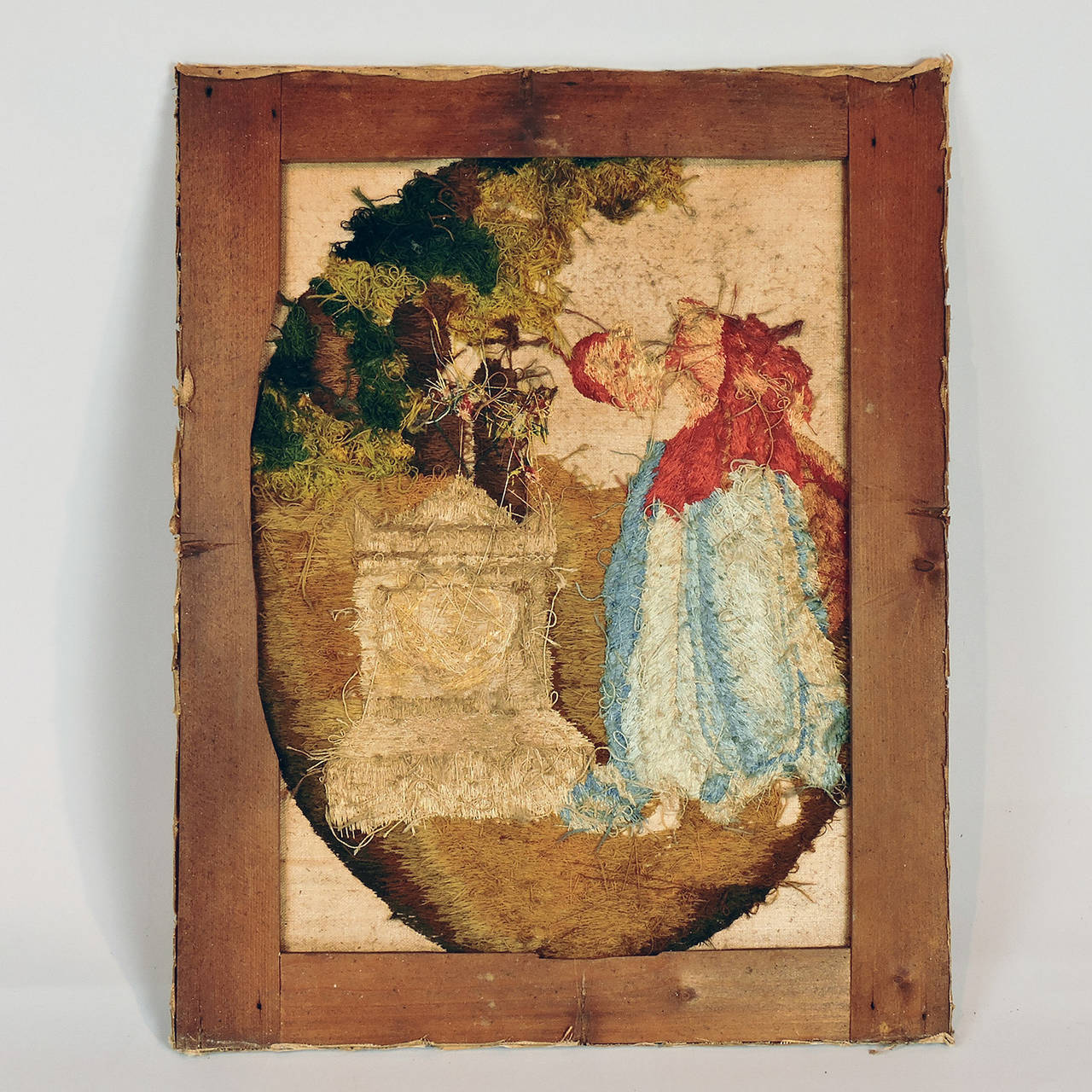 Unknown 'Fame Decorating Shakespeare's Tomb' Needlework Picture 18th-19th Century For Sale