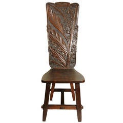 Arts & Crafts Period Carved Oak High Back Chair