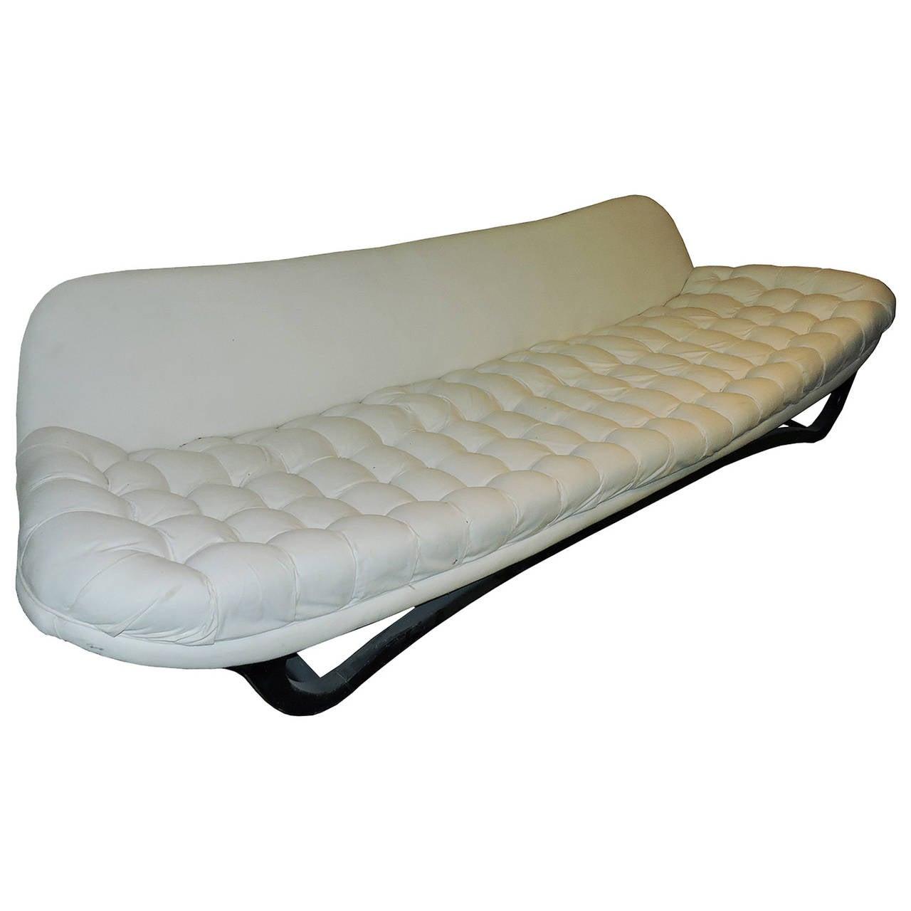 Mid-Century Modern White Tufted Sofa